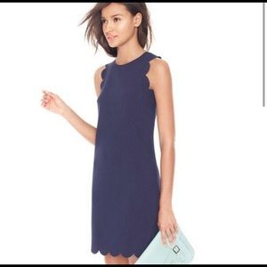 J Crew navy scalloped dress